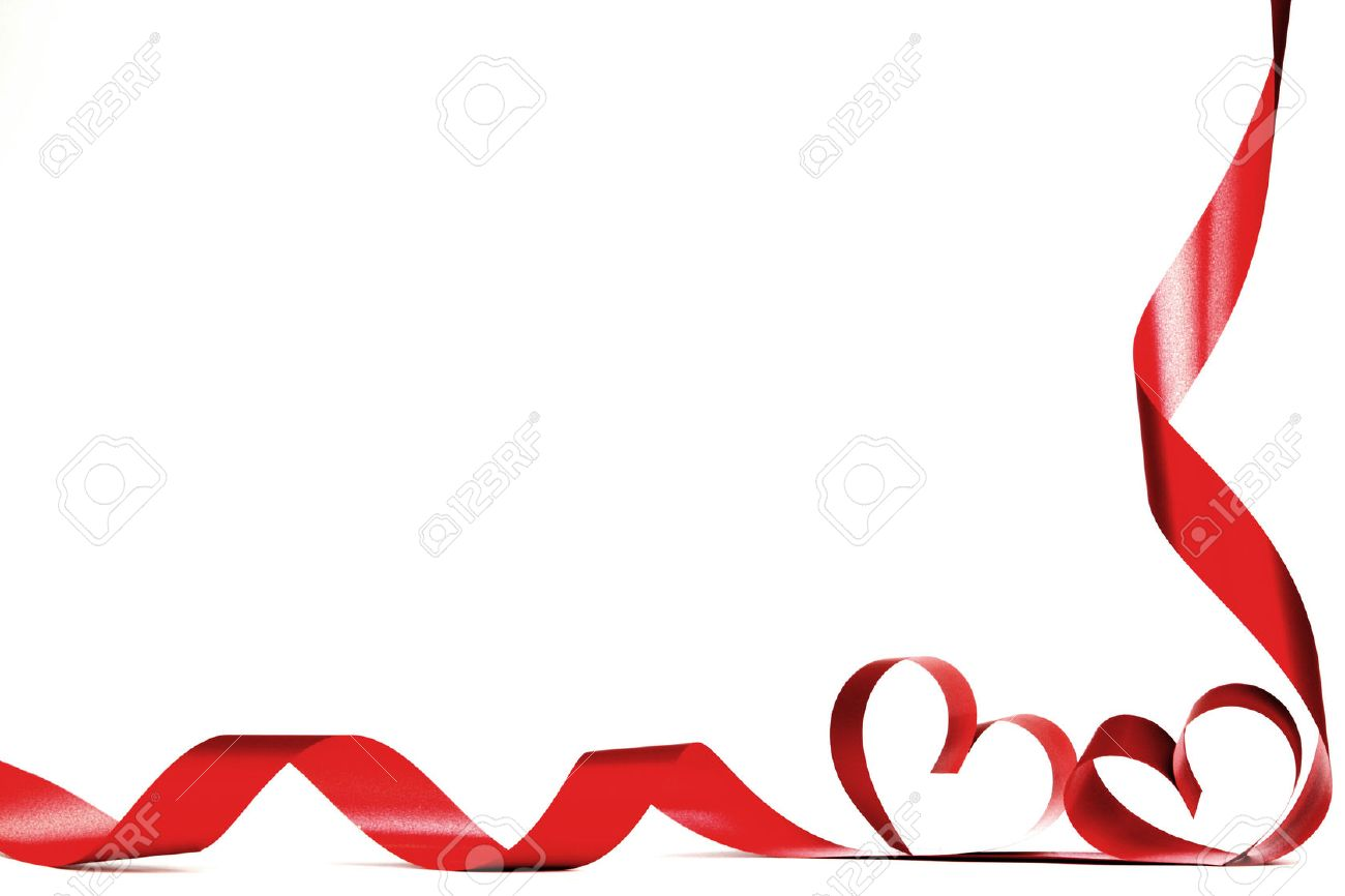 Valentines Day Frmae Made Of Red Ribbon Hearts Isolated On White