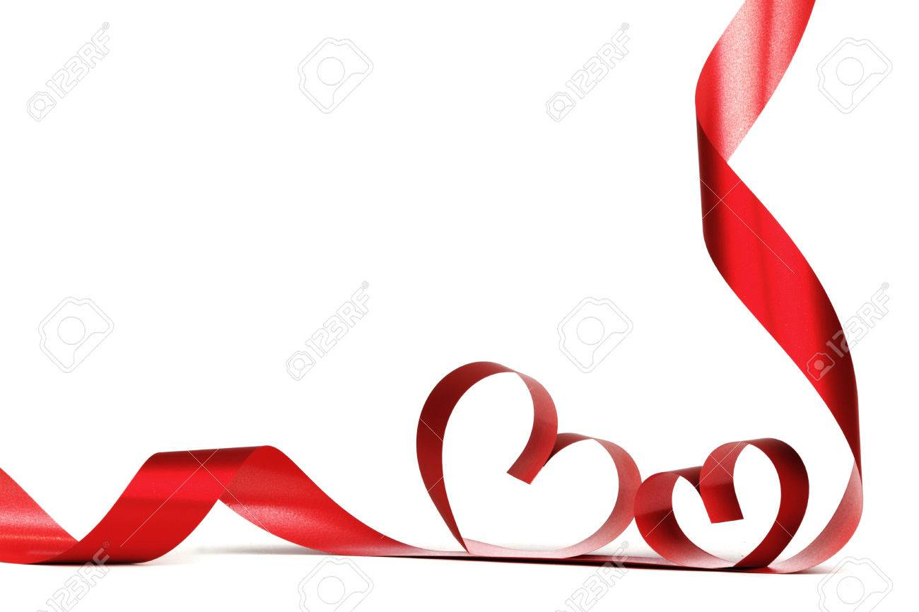 Ribbon Hearts Isolated On White Frame Valentines Day Design Stock