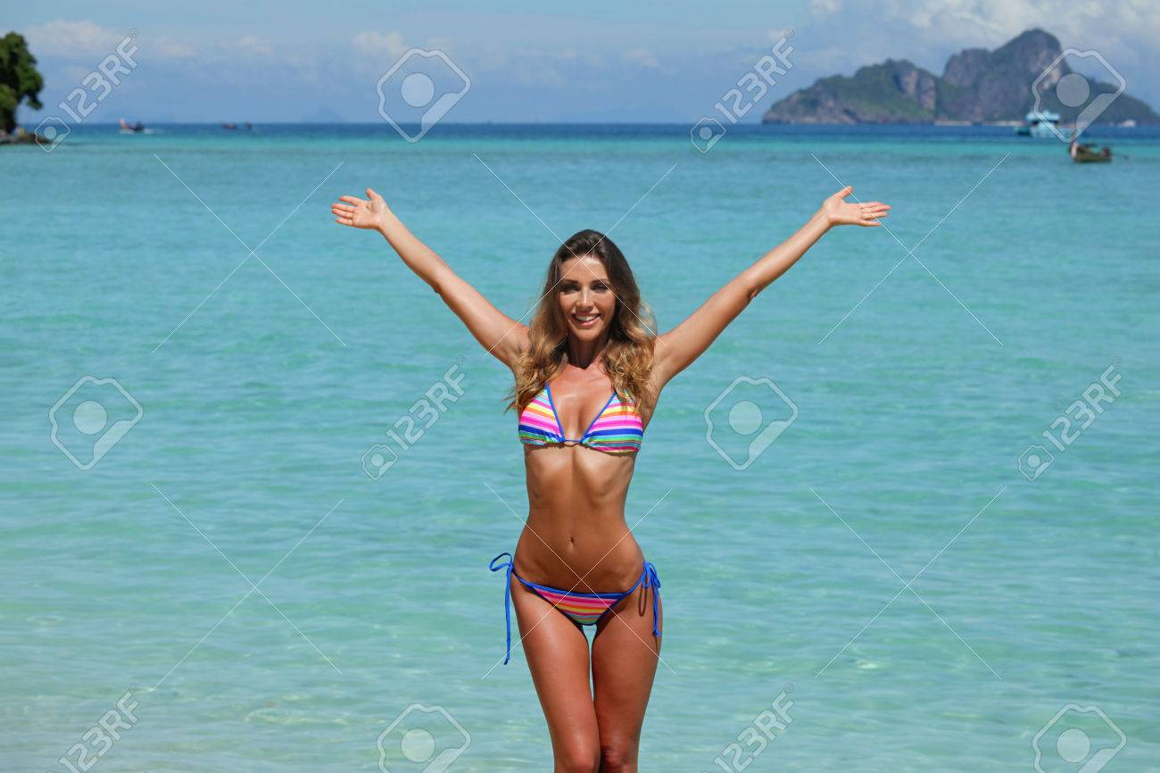 f30d609b2f4 Sexy Woman In Bikini On Beach In Thailand Stock Photo, Picture And ...