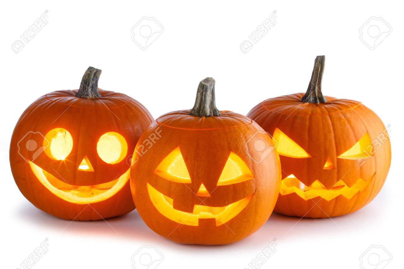 Three Halloween Pumpkins isolated on white background - 88132544
