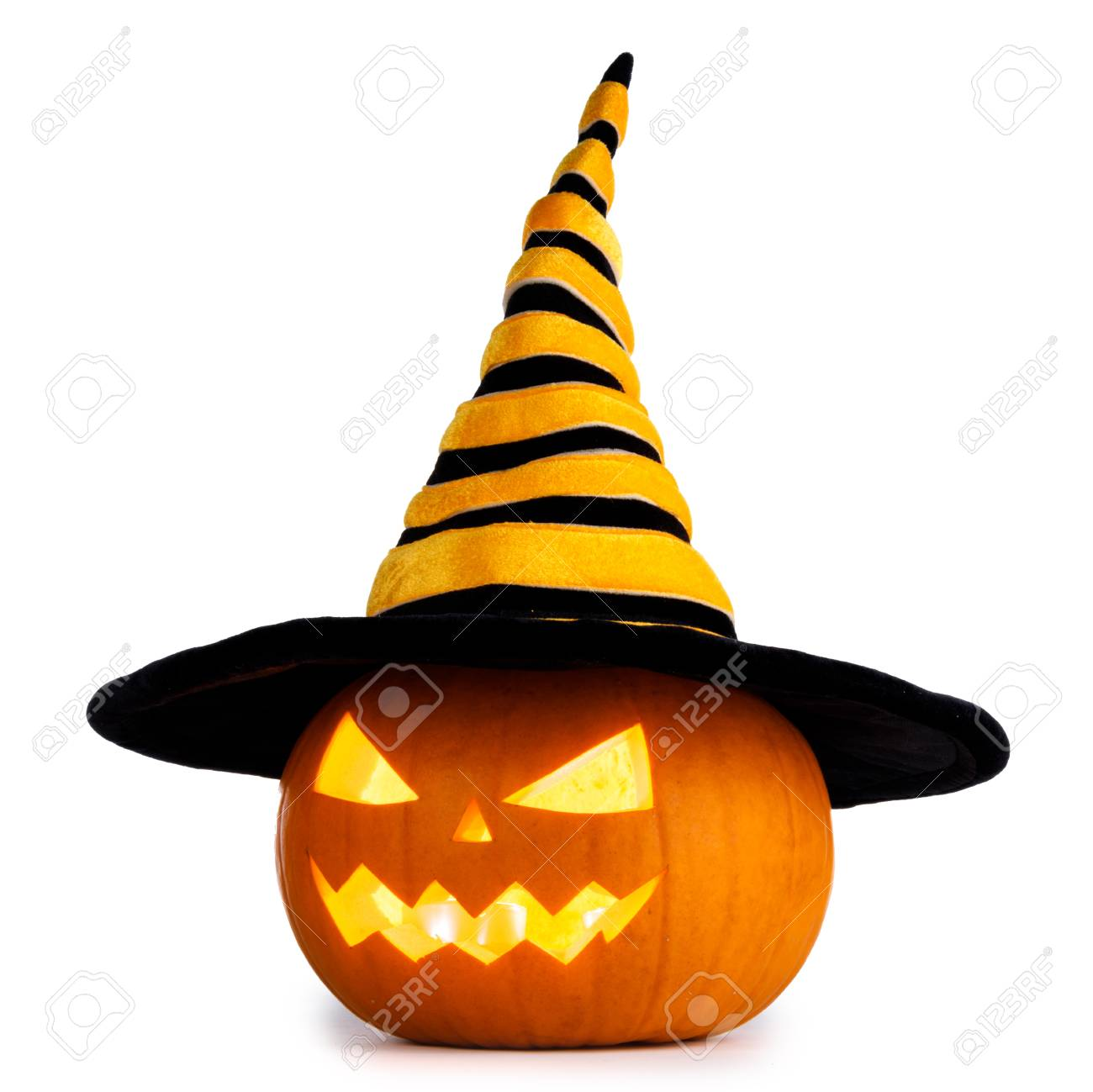 Jack O Lantern Halloween pumpkin with witches hat isolated on white background - 109823668