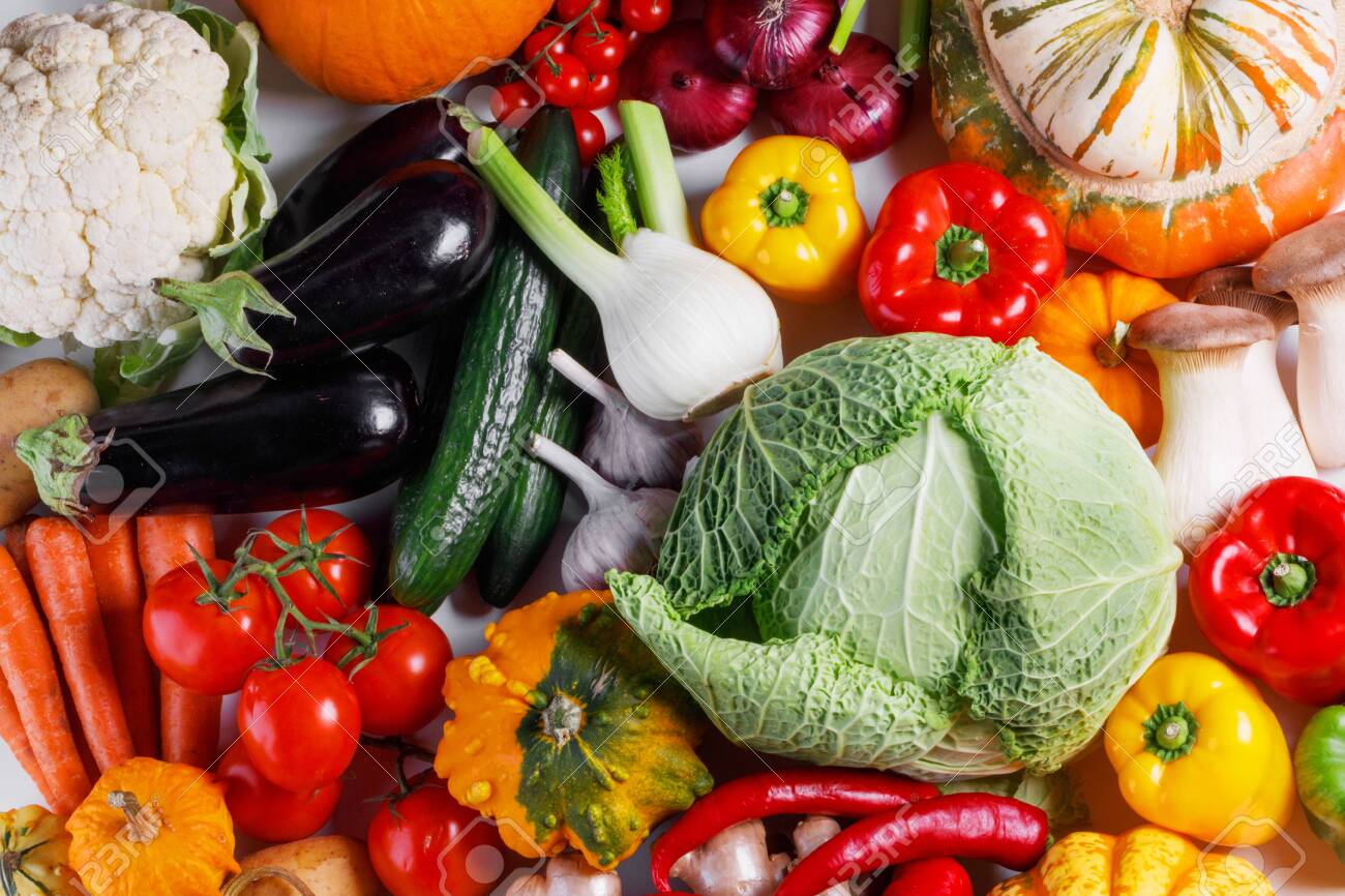 Harvest of many vegetables , top view flat lay background - 130913687