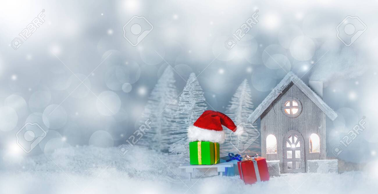 Christmas Card With Cozy Small Decorative House Gifts And Santa