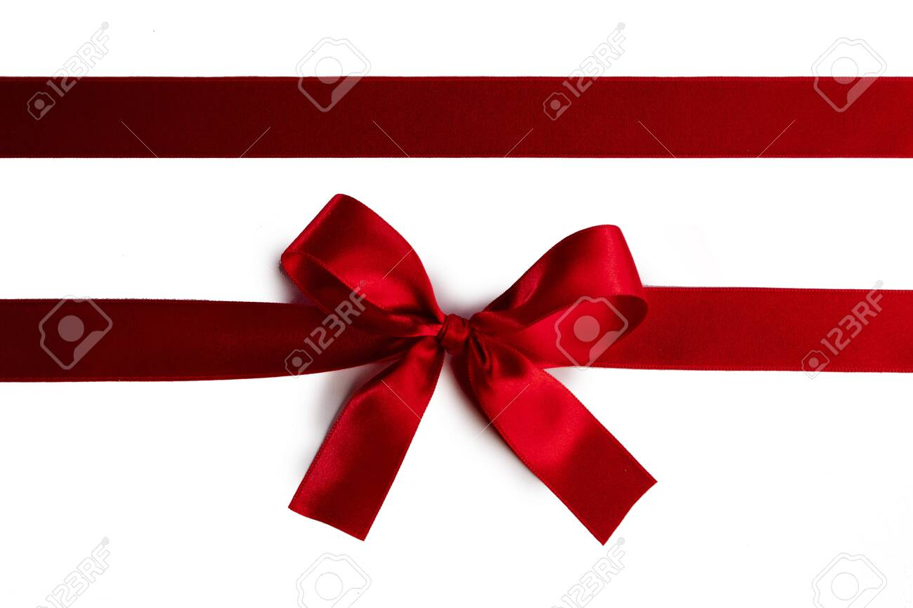 Elegant satin red ribbon bow isolated on white background - 134413663