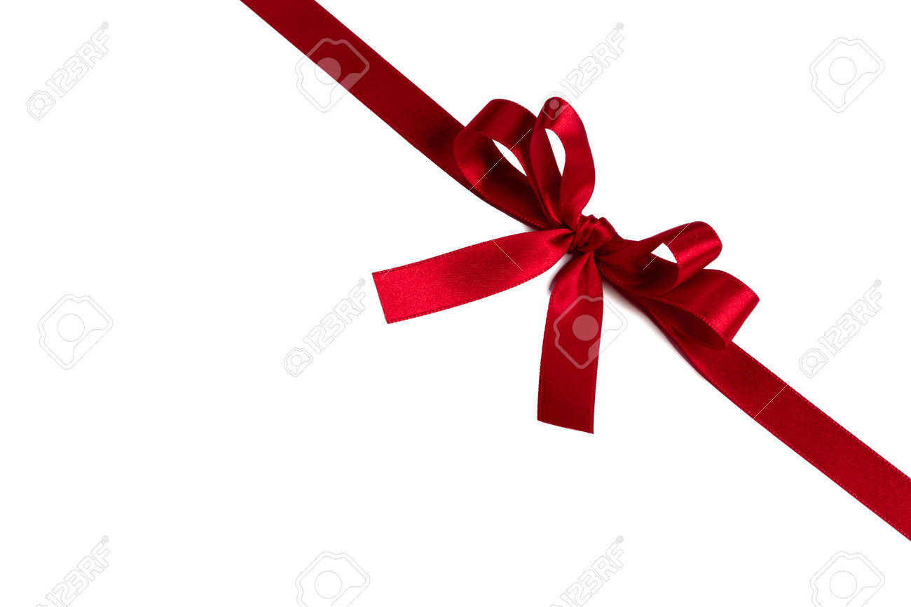 Red gift bow isolated on white background holiday gift concept - 156176385