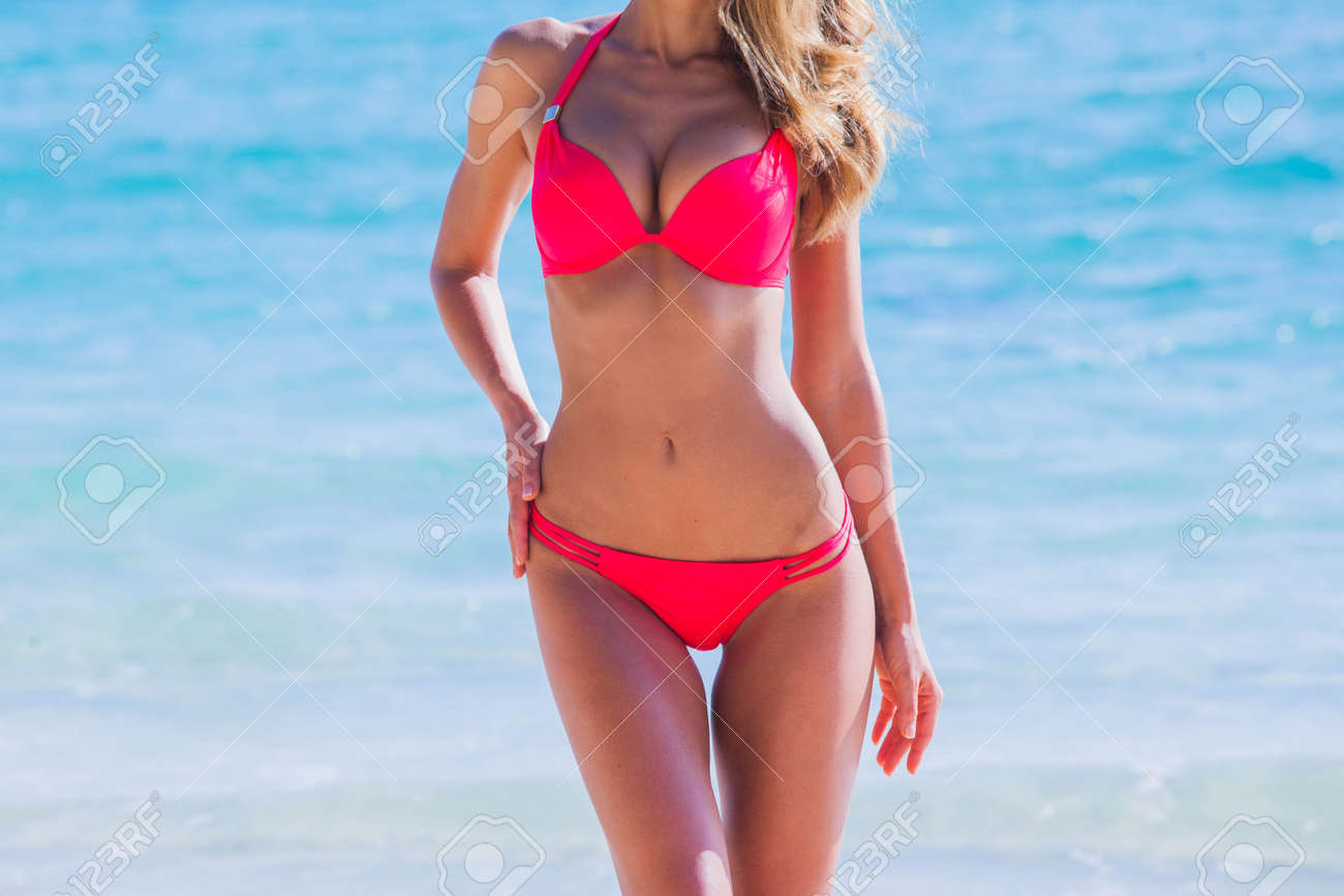 Woman with perfect body in bikini over tropical sea background summer vacation concept - 169332015