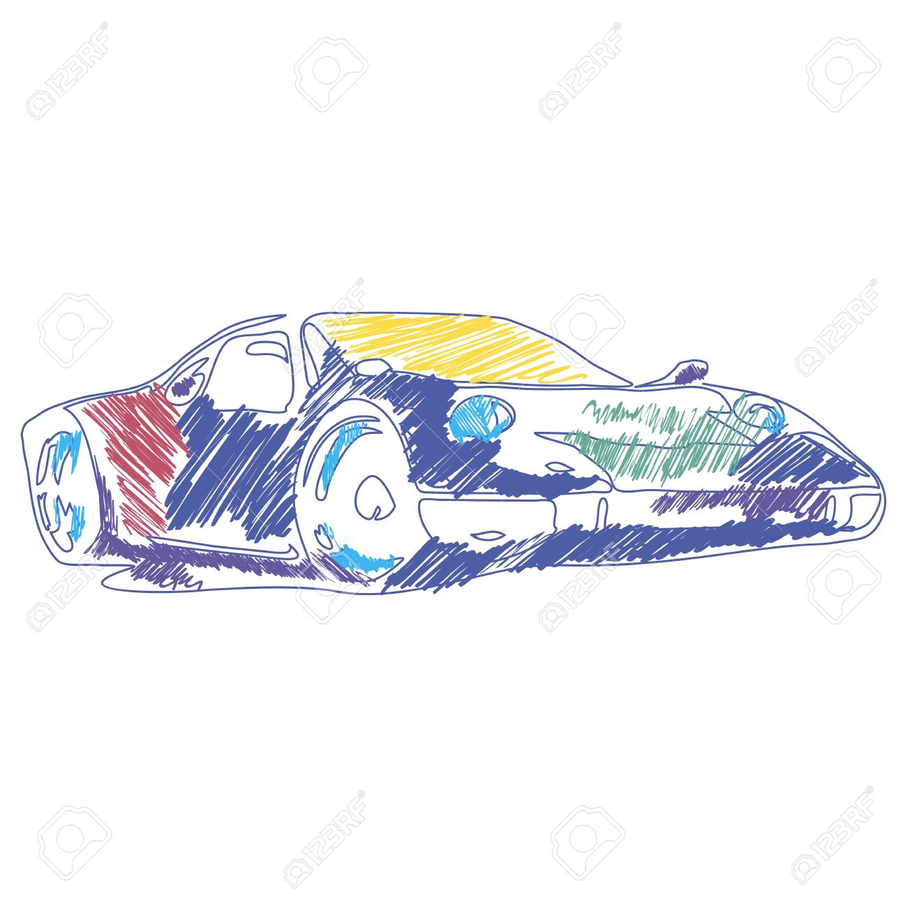 Coloring Sport Car Drawing With Vector Children S Drawing Perfect