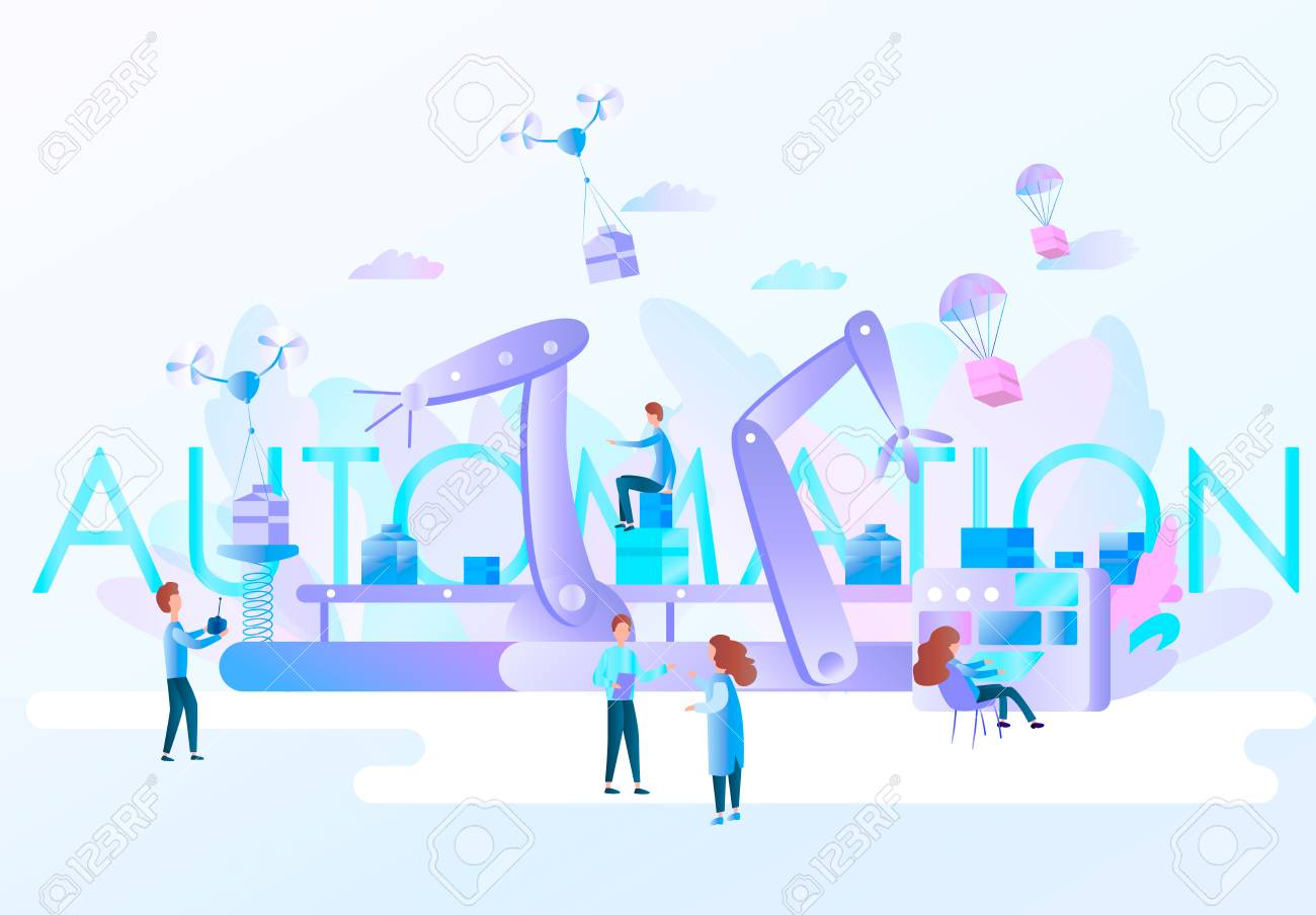 Robotic Hands And Conveyor Belt Controlled By Engineer Factory Royalty Free Cliparts Vectors And Stock Illustration Image 115222899