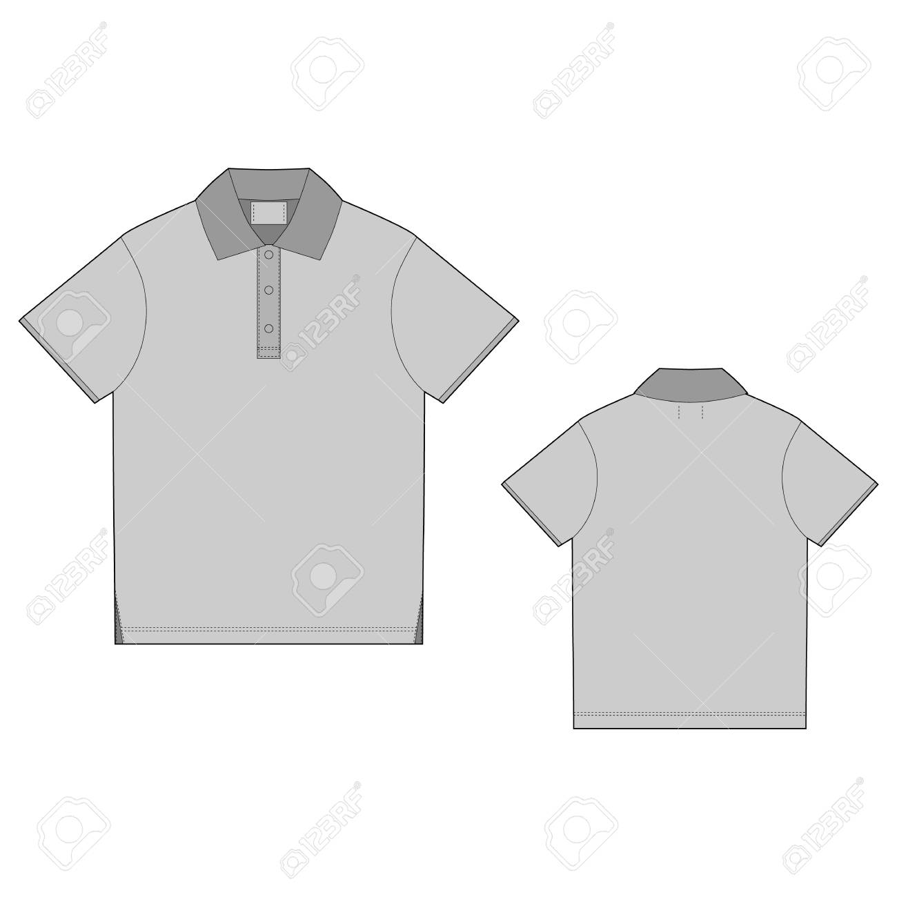 Polo T Shirt Design Template Front And Back Vector Technical