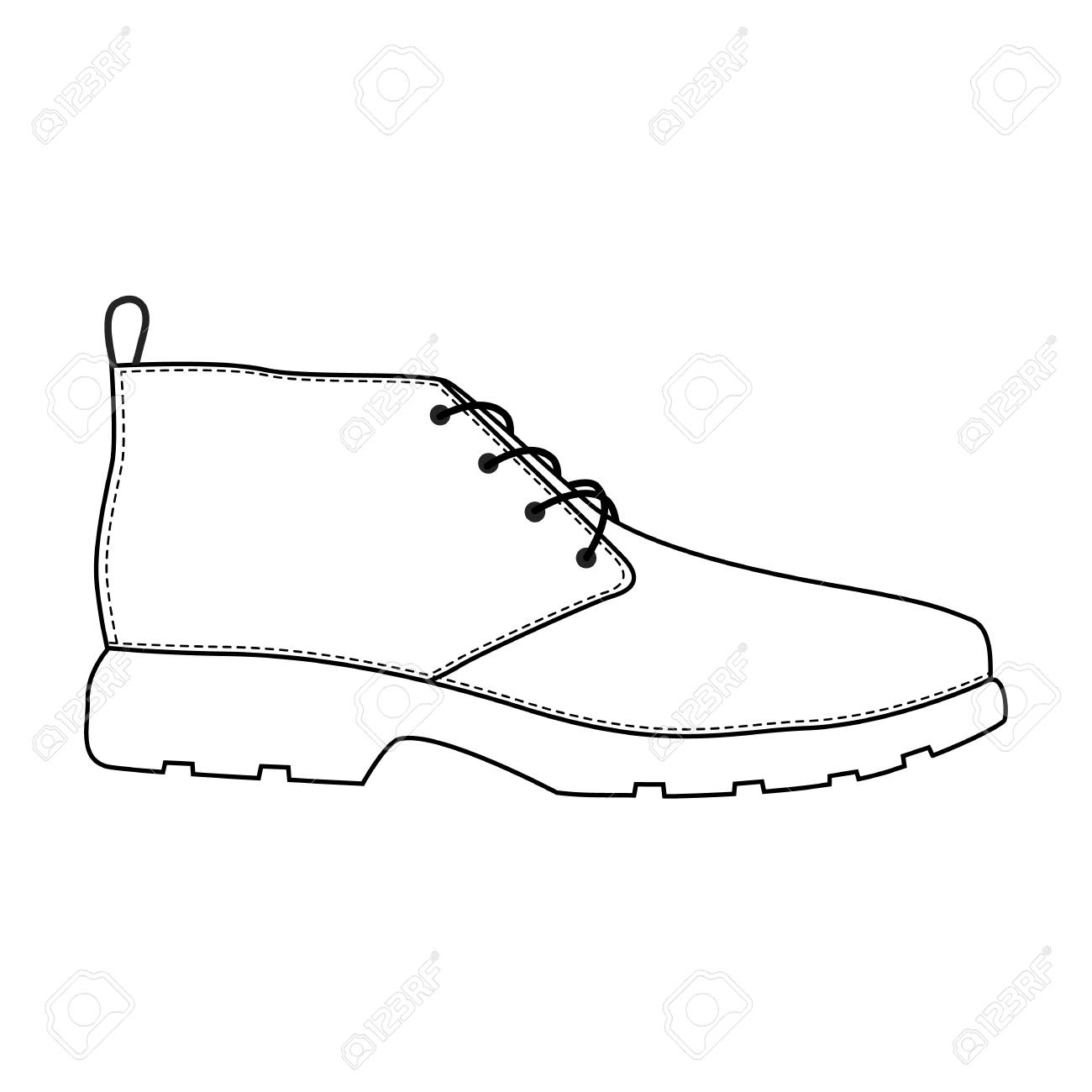 f9d46c1c92 Men shoes isolated. Male man season shoes icons. Technical sketch. Footwear  vector illustration