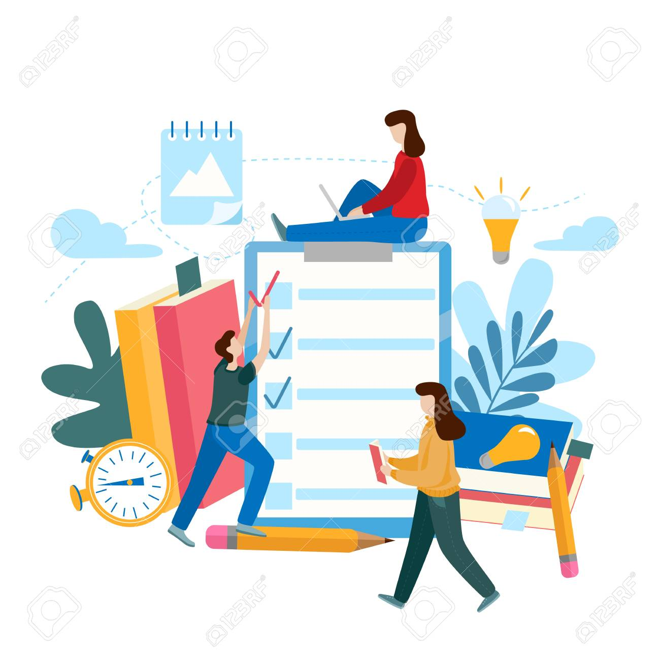 Survey or exam form long paper sheet with answered quiz checklist and success result. Flat vector concept of online exam, questionnaire form, online education, survey, internet quiz. - 126132708