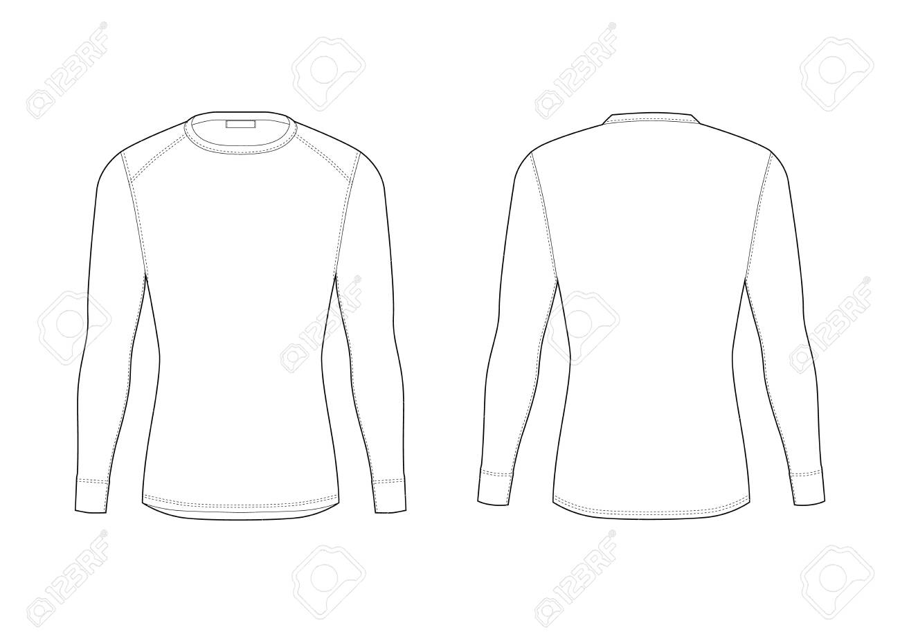 Men winter thermal underwear. Blank templates of long sleeve t-shirt. Isolated male sport rash guard apparel. Front and back views. Sample technical illustration. - 122499398