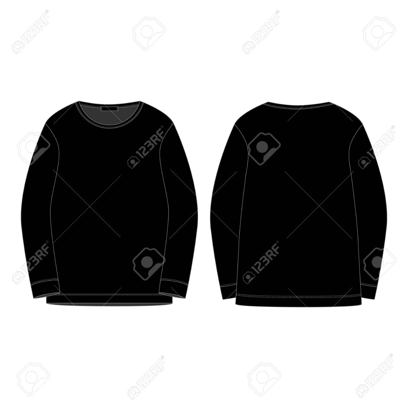 Black sweatshirt isolated isolated on white background. Front and back technical sketch. Sportswear, casual urban style. Fashion vector illustration - 141641826