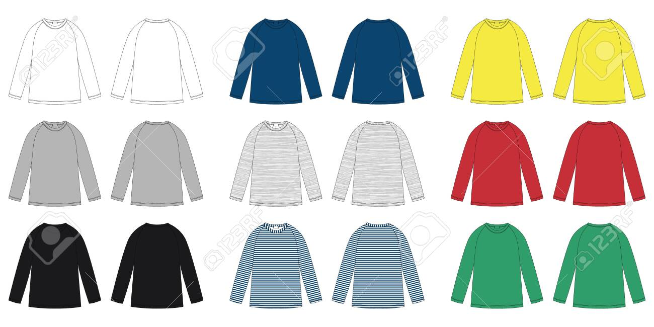 Childrens vector technical sketch raglan sweatshirt. KIds wear jumper design template isolated. White, gray, black, blue, yellow, red, green colors. Melange and stripes fabric. Front and back view - 147665560