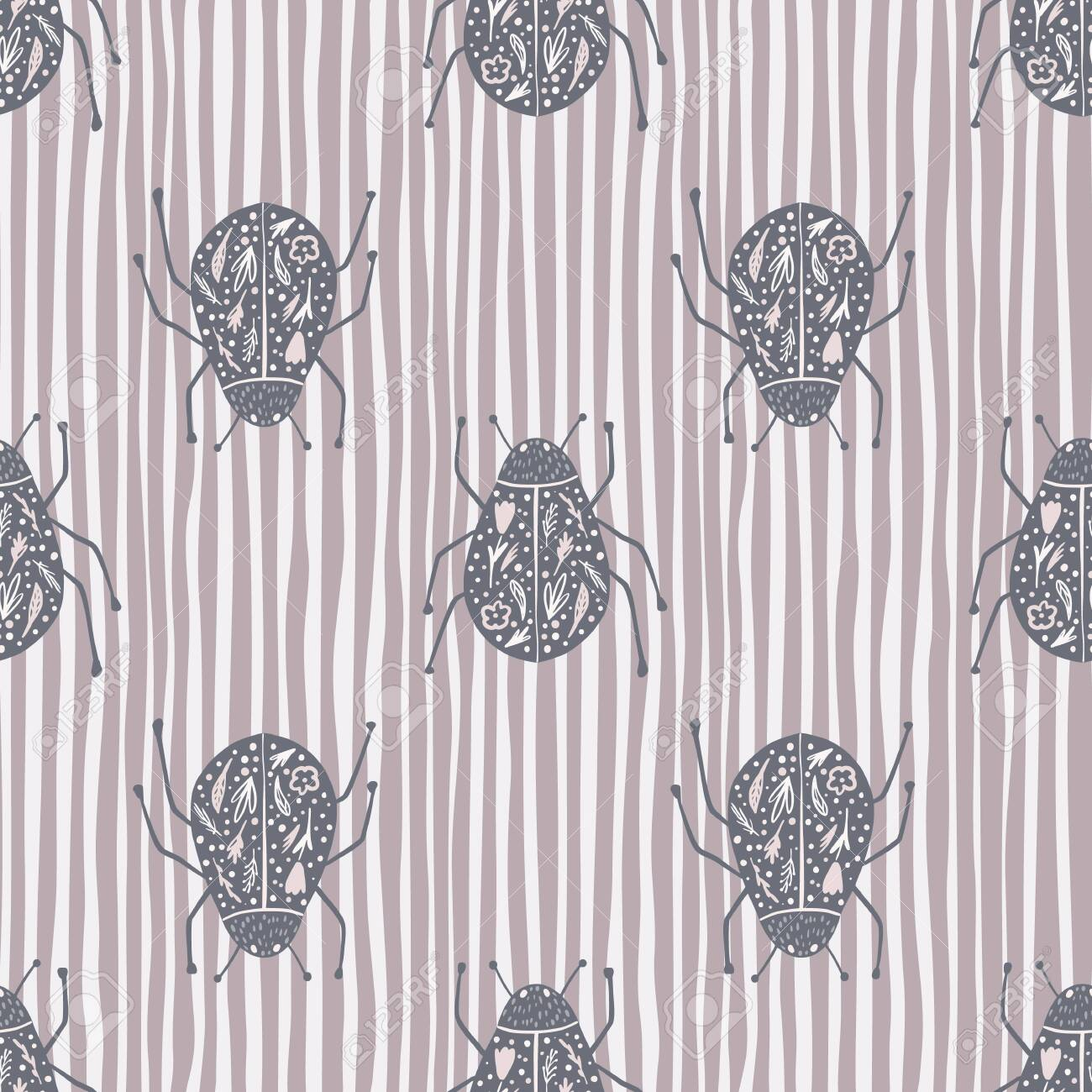 Fauna seamless pattern with folk bugs silhouettes. Pale purple insects print on stripped background. Animal nature artwork. Perfect for wallpaper, textile, wrapping, fabric. Vector illustration. - 155897908