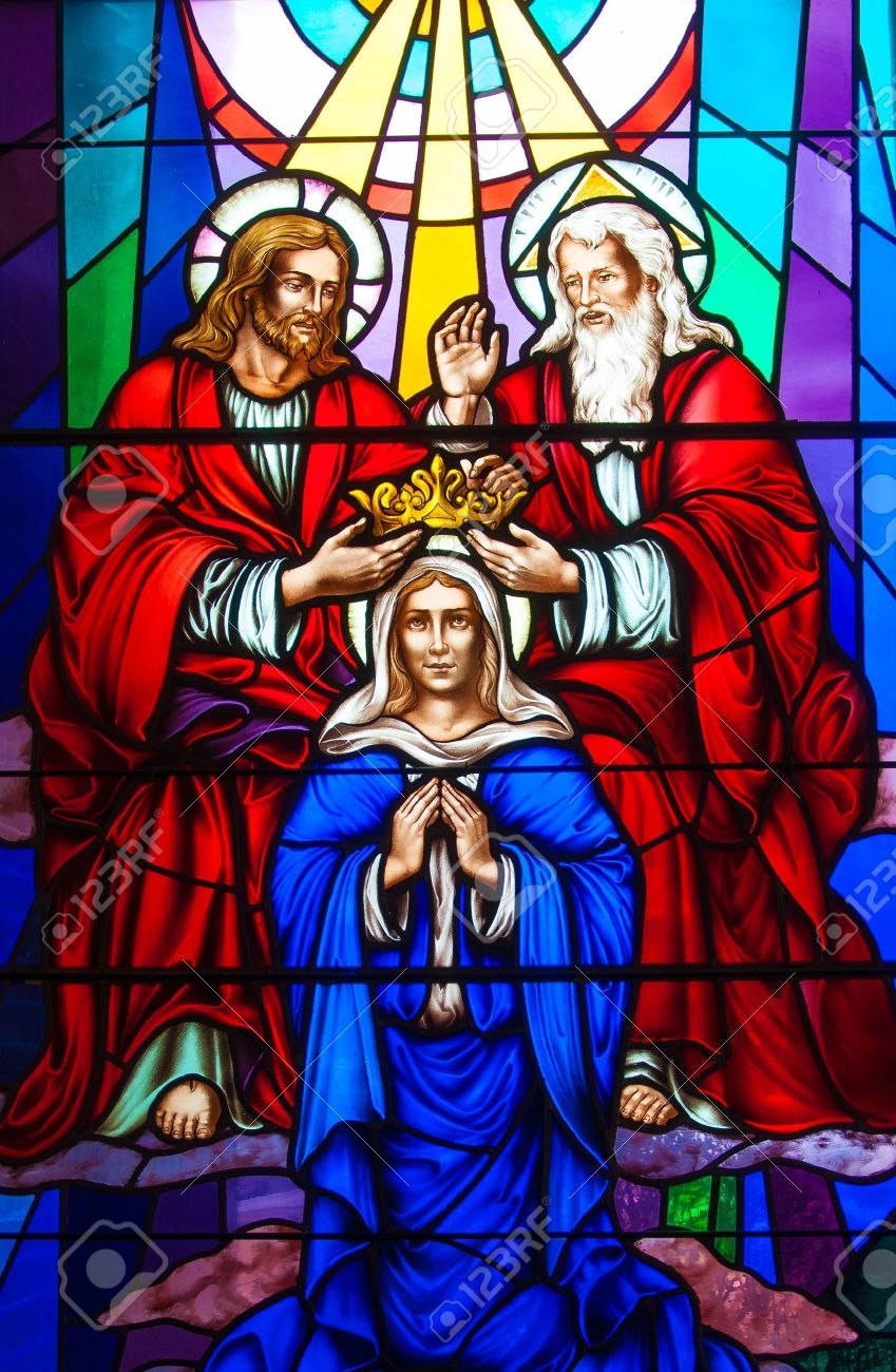 Colorful and beautiful stained glass in a Catholic Church. Different religious meanings and scenes of the Christians traditions Stock Photo - 19291026