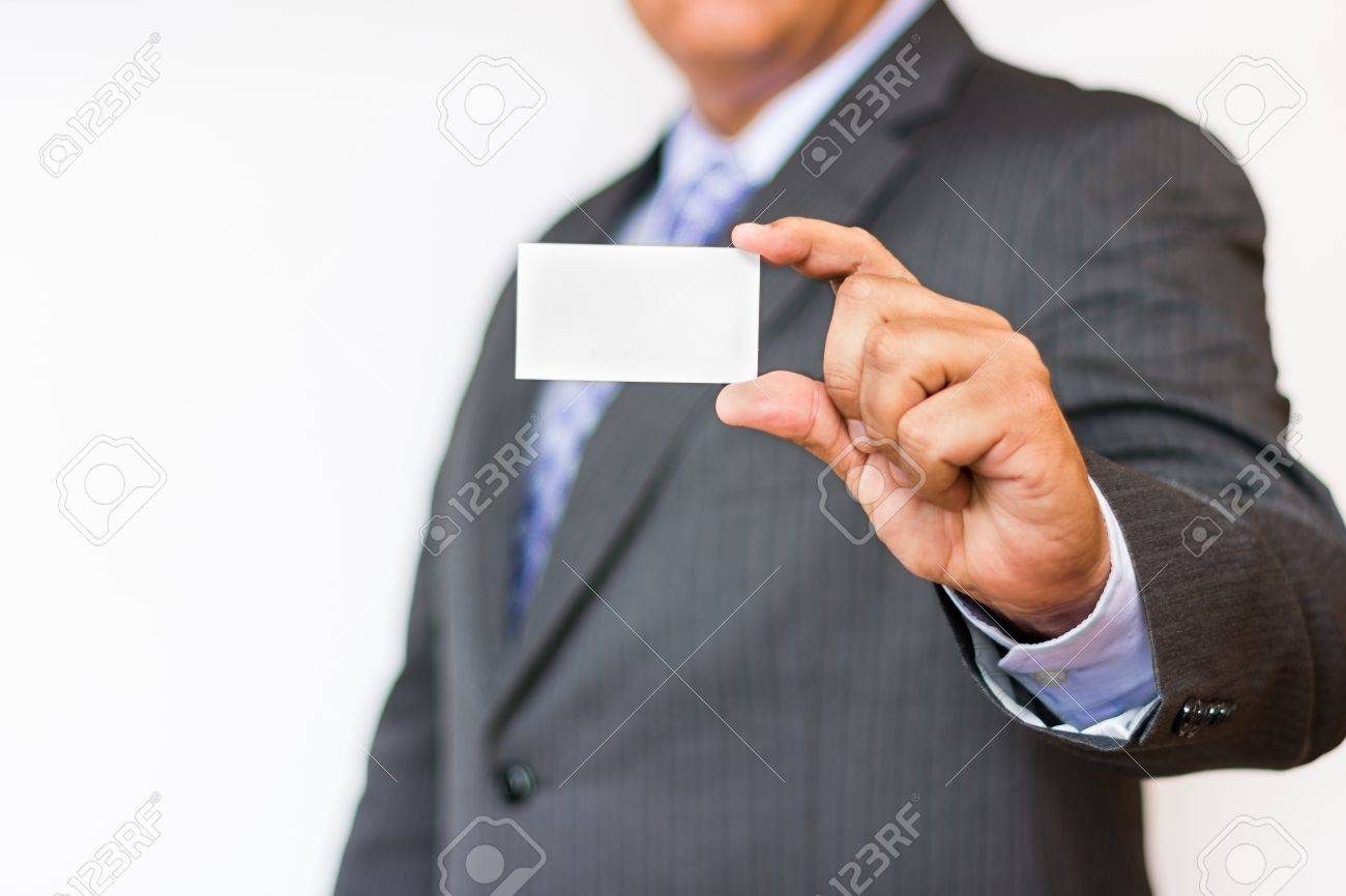 Business Man Showing An Empty Business Card Space For Text In ...