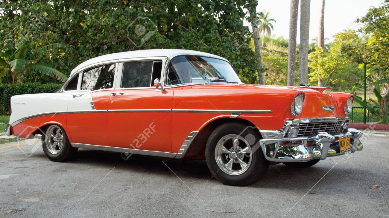 SANTA CLARA, CUBA- JANUARY 8, 2013 Old American Car Cuba, One ...