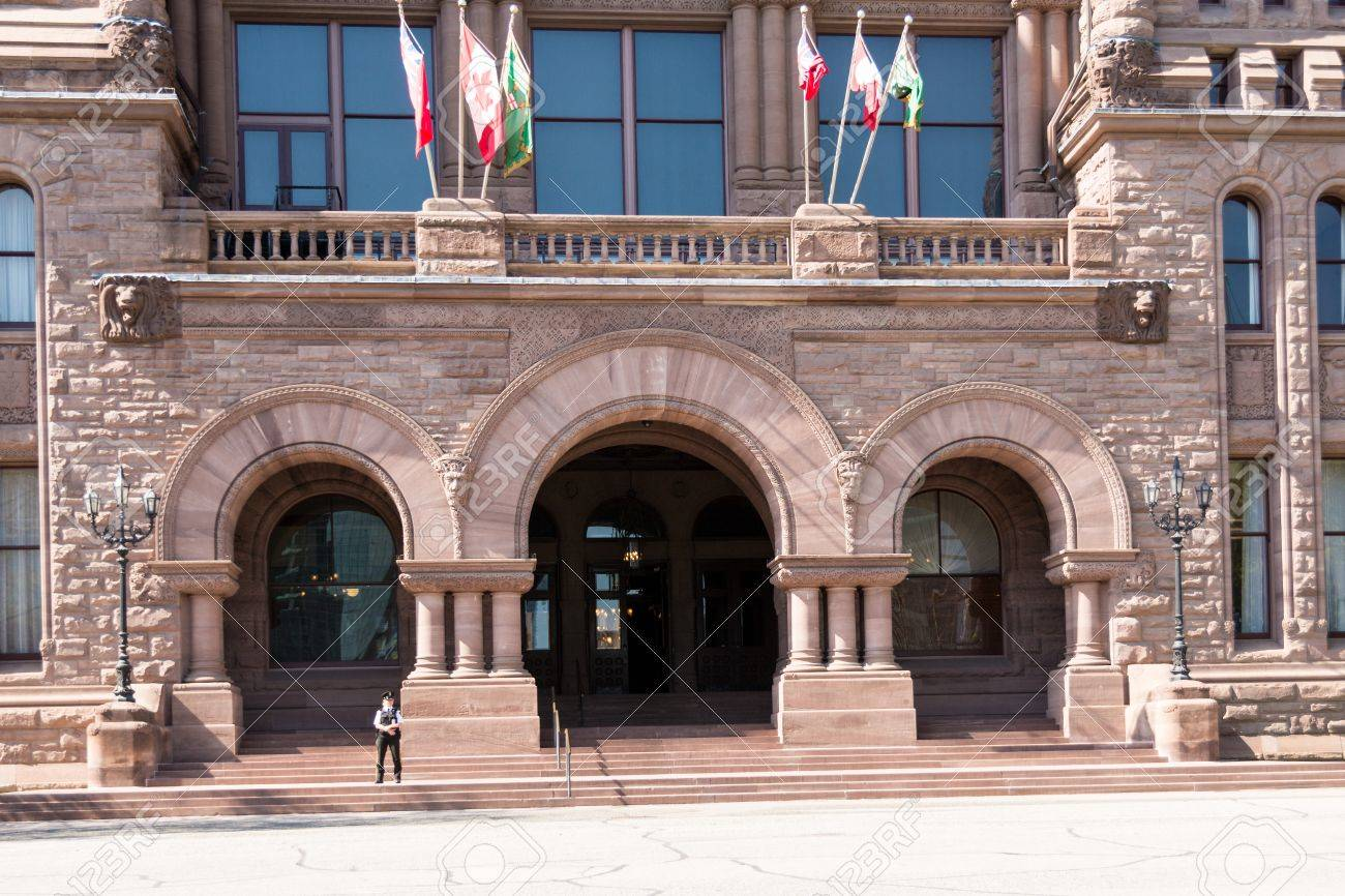 Richardsonian Romanesque Architecture entrance with arches and