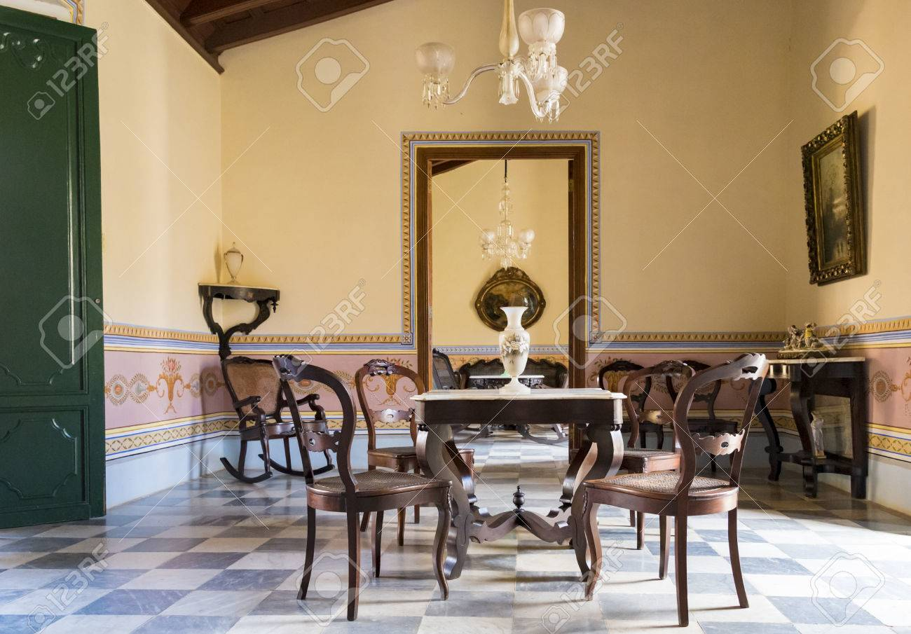 Cuba Tourism: Trinidad, Brunet Palace Interior Details. The Palace Shows  The Splendor In