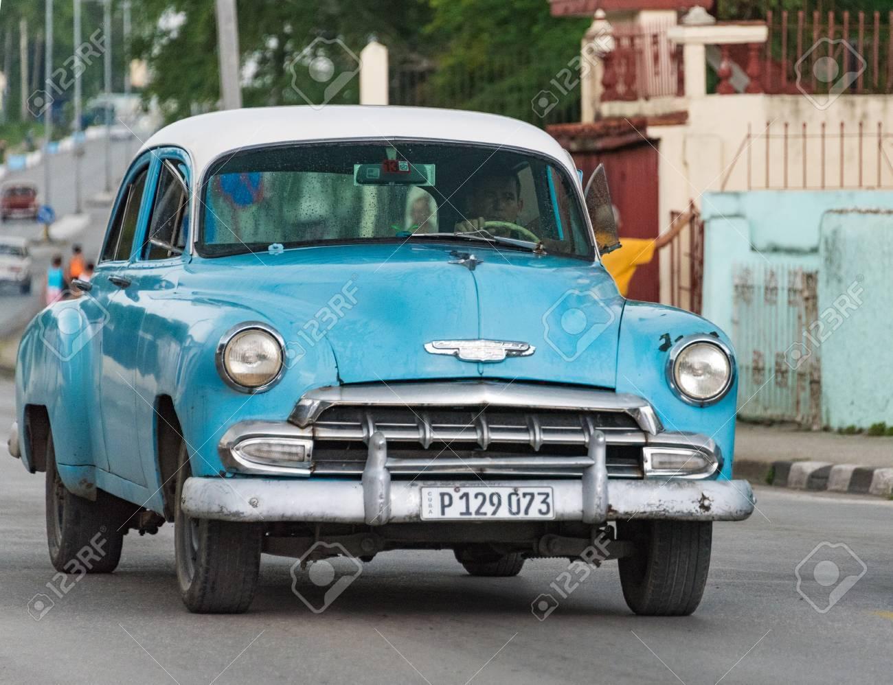 Tourism In Cuba: Old Vintage American Car In Santa Clara, Cuba. Cuba ...