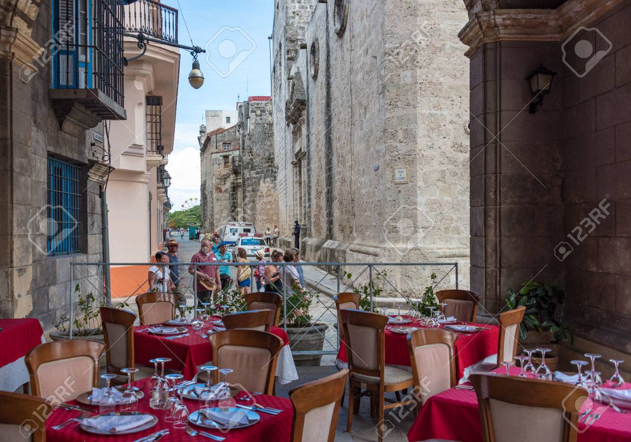 Old Havana, Cuba: El Patio Restaurant View Of The Cathedral Plaza ...