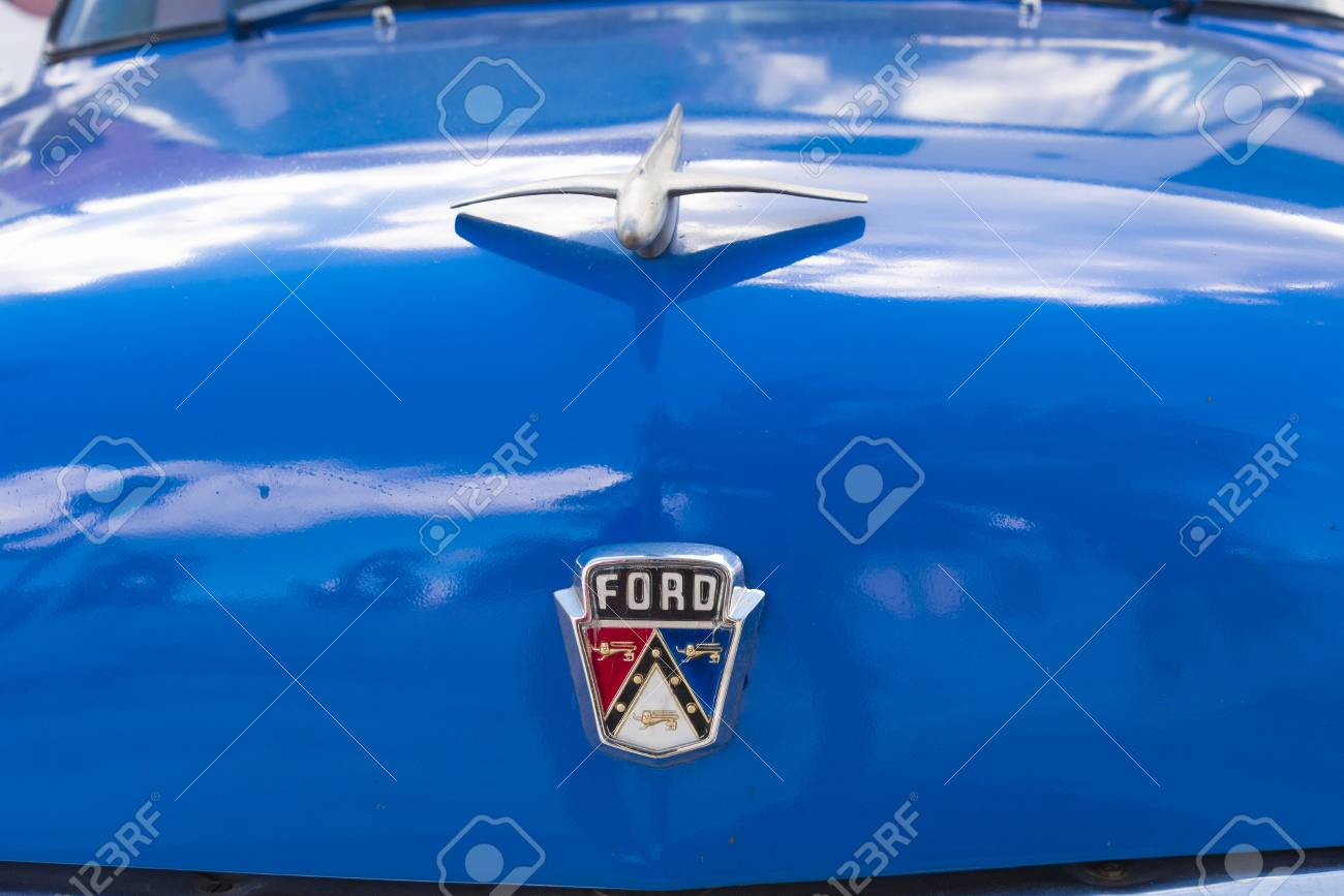 Ford Brand Name Logo In Old Classic American Car Still Running