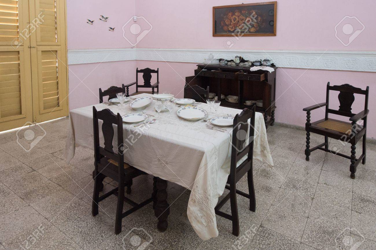 Cuban Colonial Dining Room Furniture, Table Set At The Style Of The Epoch.  Cuban