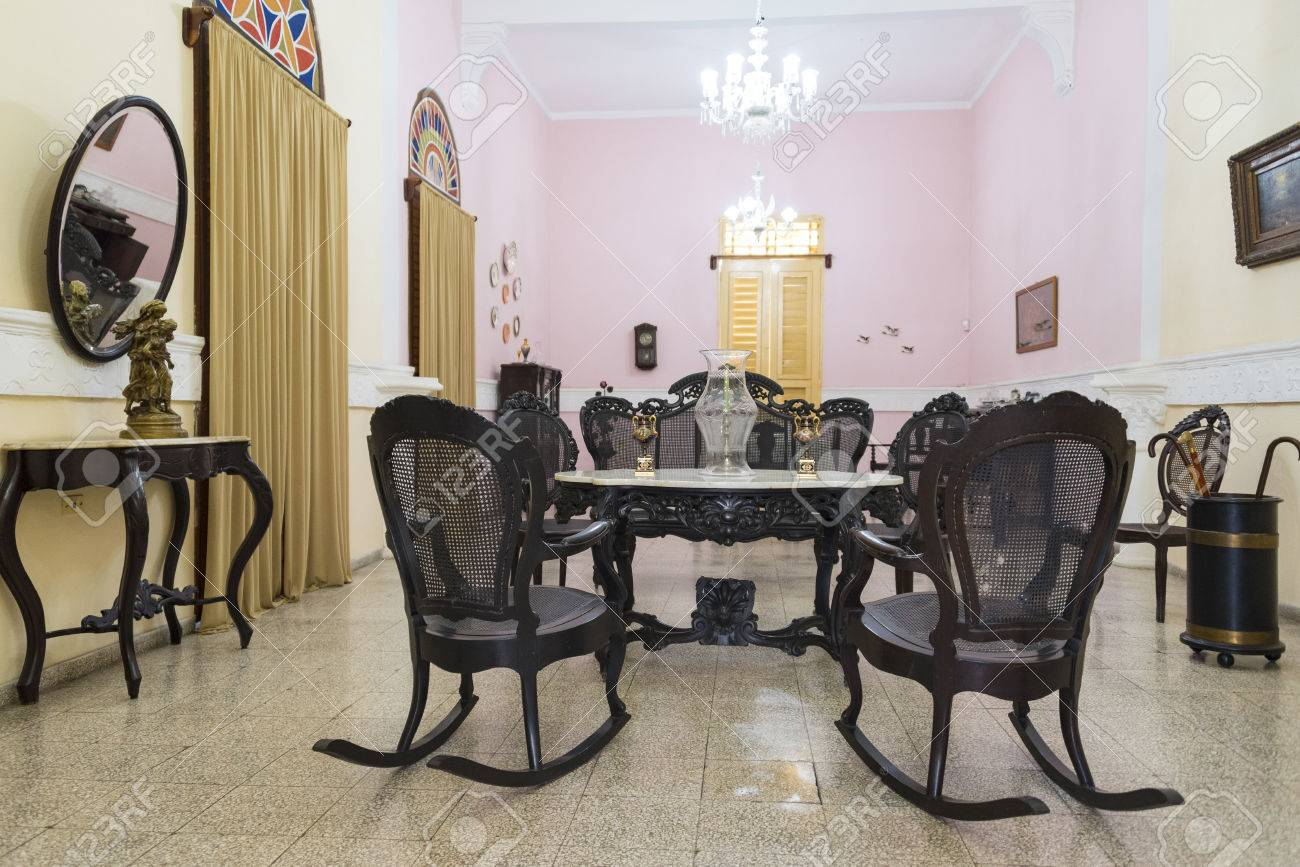 Spanish Colonial Living Room Furniture And Decoration. Solid Wood Rocking  Chairs Typical Of Cuban Culture