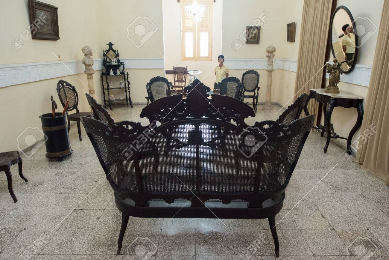 Spanish colonial living room furniture. Cuban conservation of..