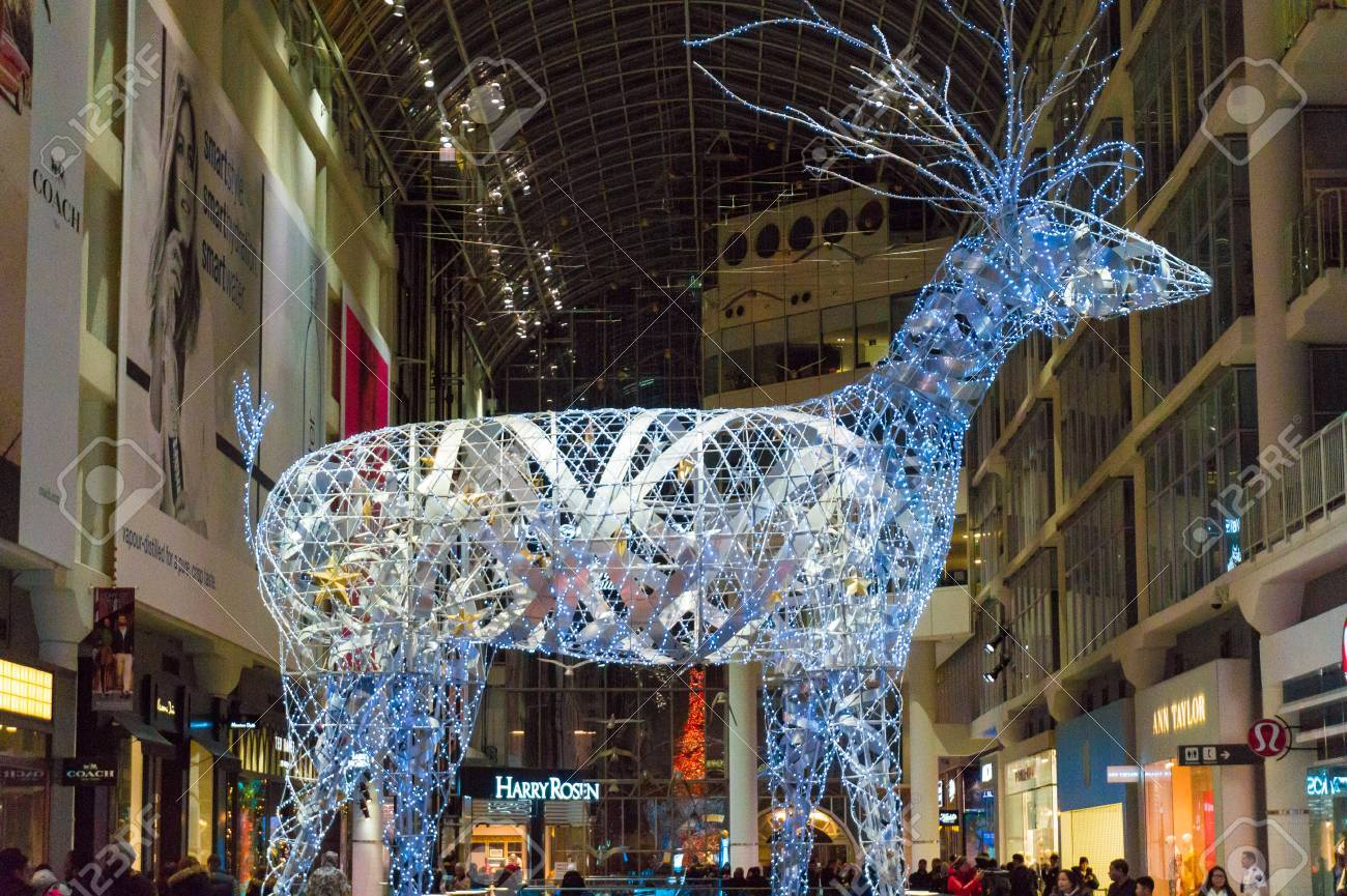 giant lit up metal reindeer standing tall in eaton center part of christmas decoration