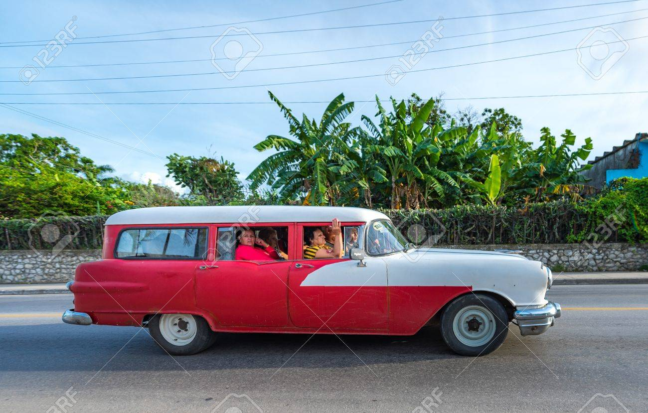 Old Obsolete American Red And Gray Car Used For Self Employment ...