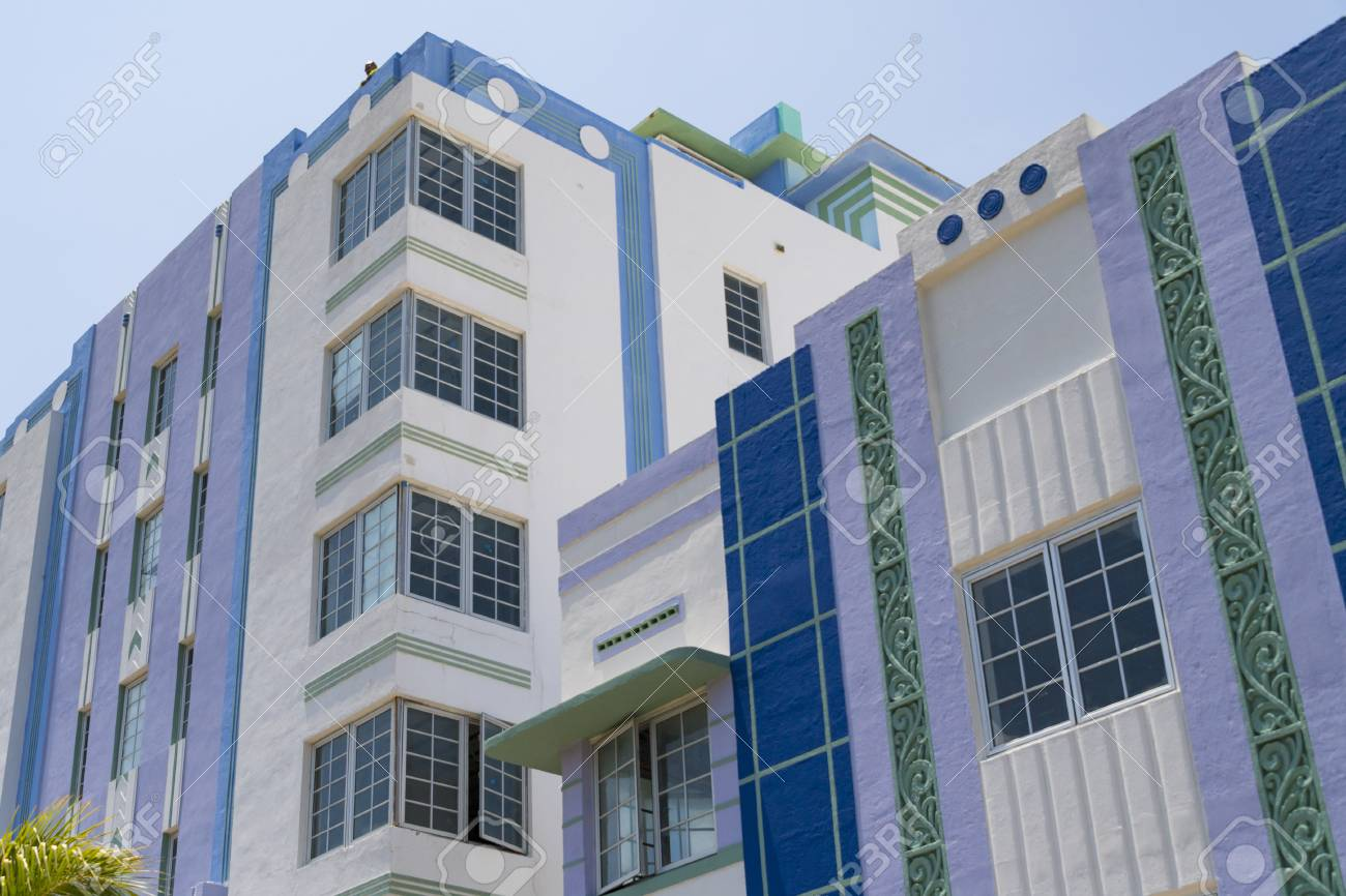 close up of art deco building in the architectural district of