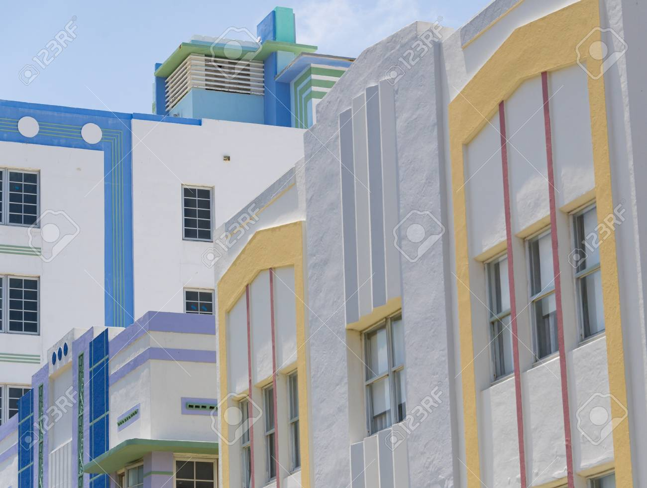 closed shot of pastel painted art deco building in the architectural