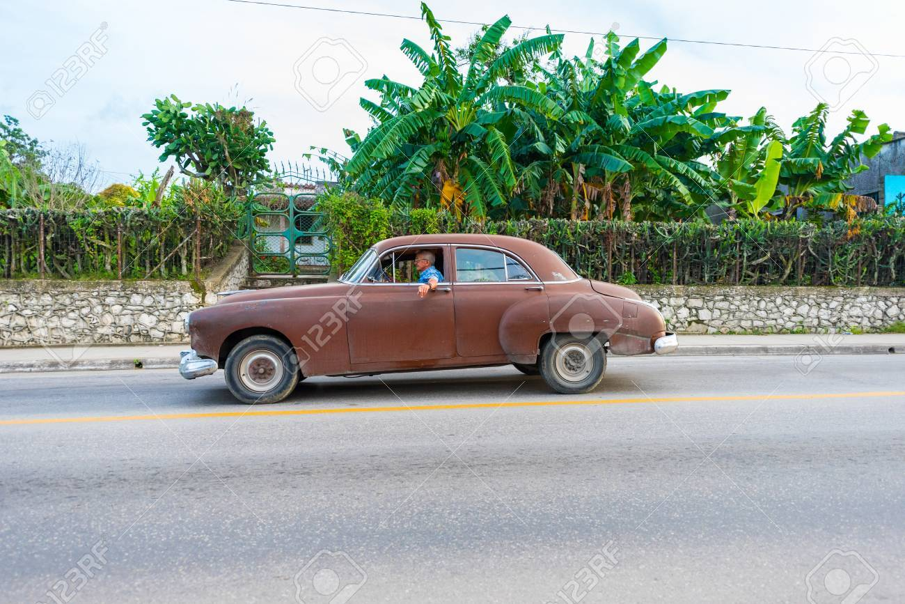 Brown Chevrolet 1949 Or 1950, American Car. Cuban Old Obsolete ...