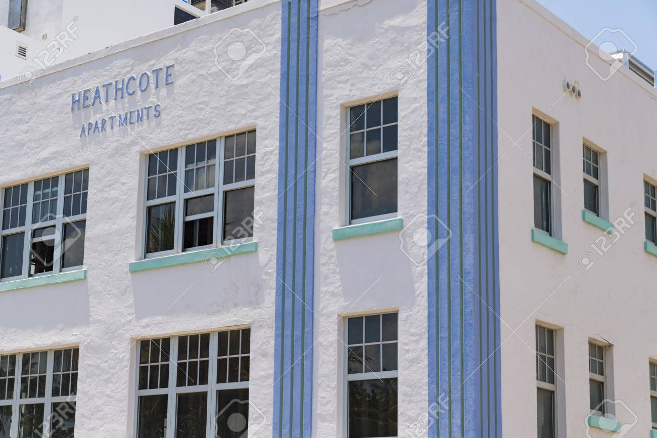 art deco building in the architectural district of the city stock