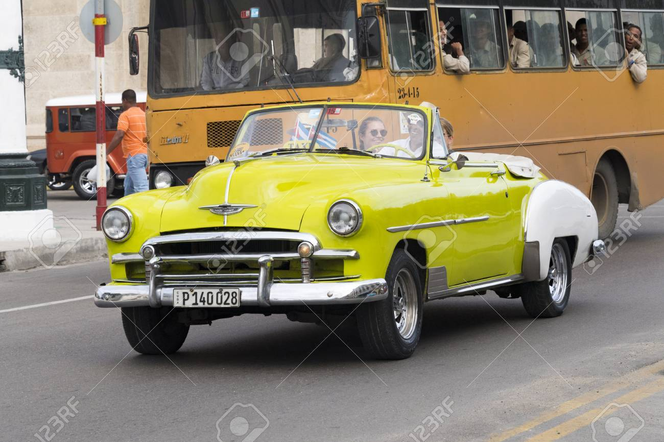 Cuba: Old Obsolete Cars Driving. The Island Is Known For The.. Stock ...