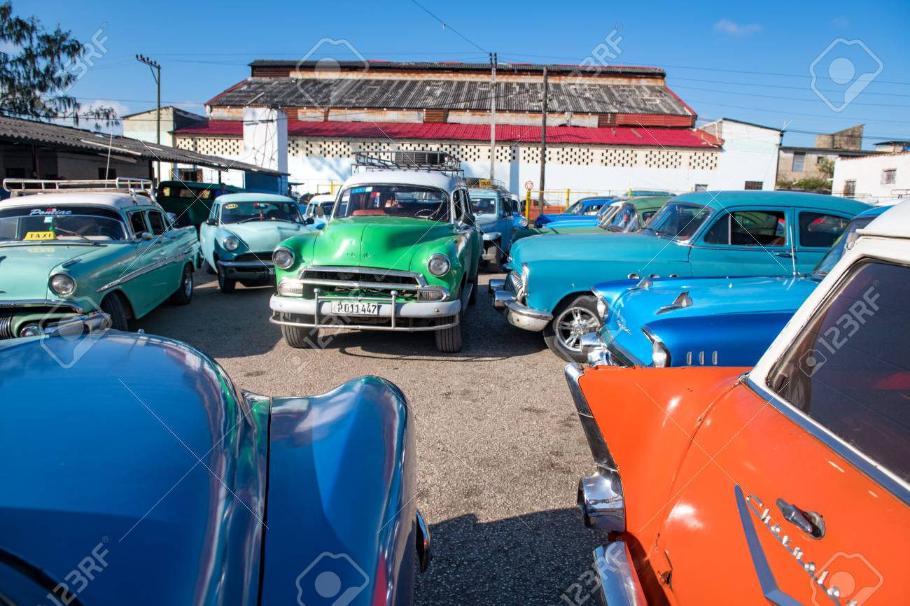 Old Cars Terminal For Inter-cities Transportation. In Cuba, .. Stock ...