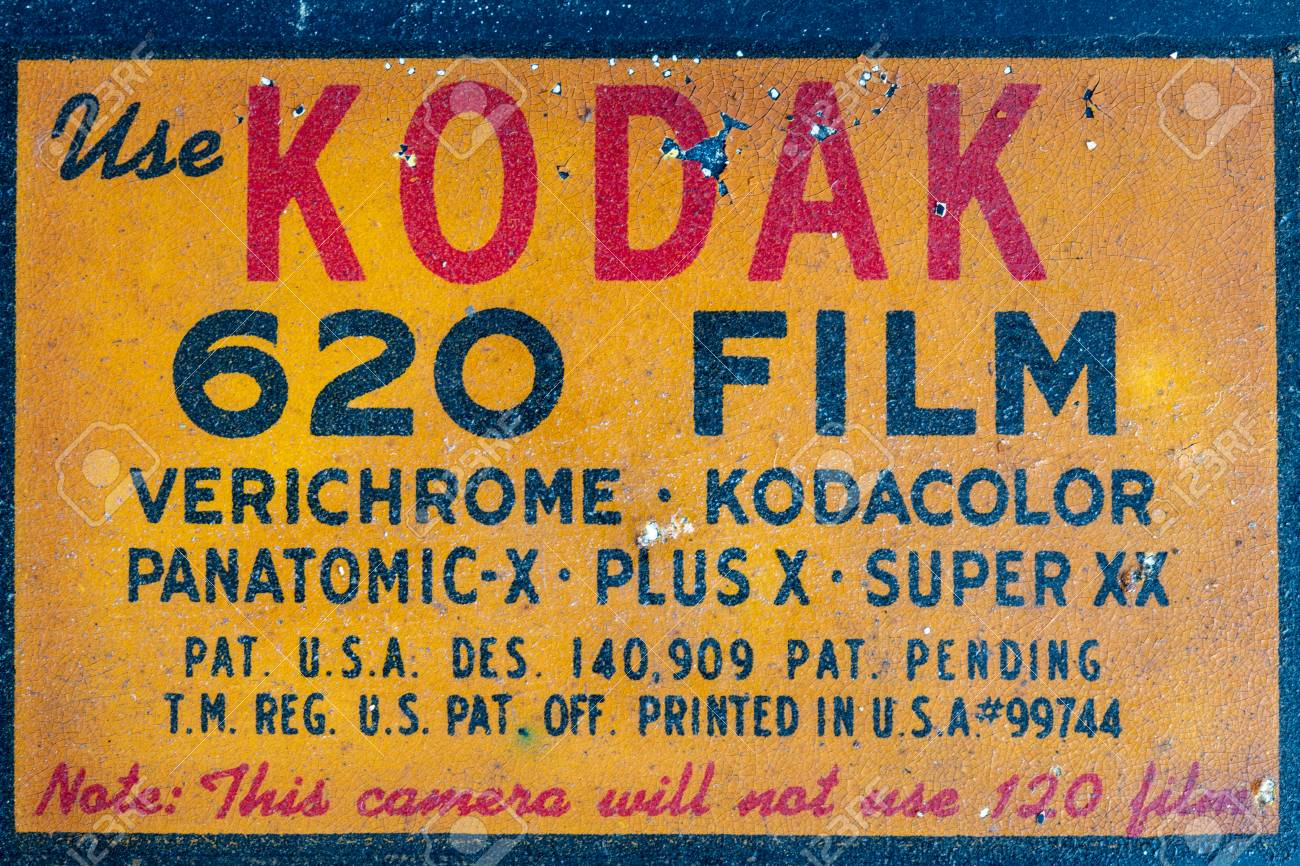 Kodak 620 Film  A sign inside of a vintage Kodak Camera  It also