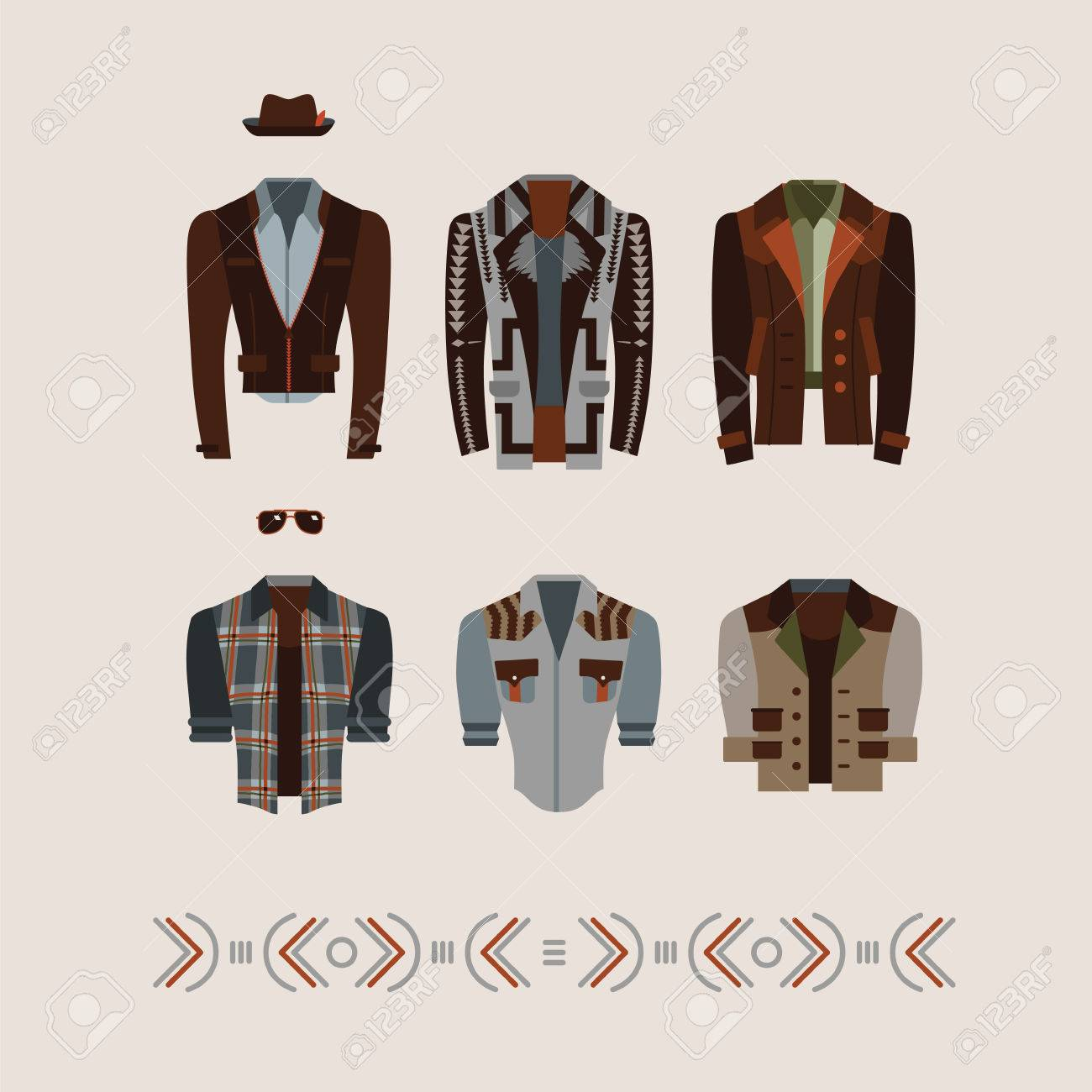 men's modern and retro clothes fashion illustration