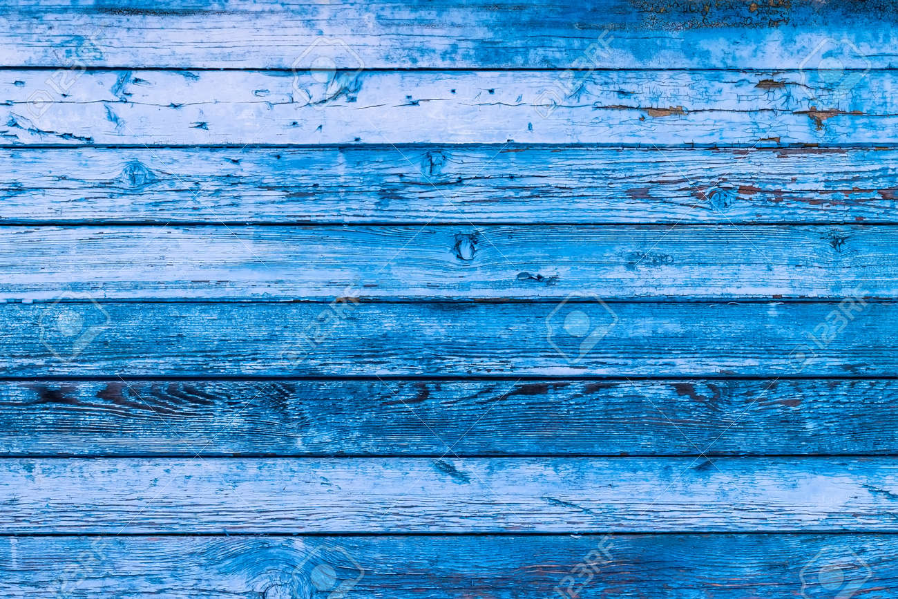 Blue texture of a board with peeling paint. Abstract background for design. Table or wall panel. - 120160496