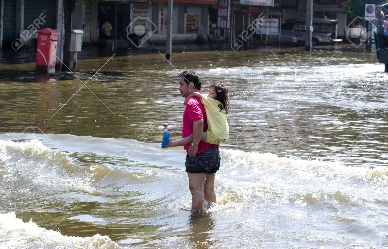 BANGKOK THAILAND – NOVEMBER 13: Scenes from Bangkok during its worst flooding in decades is a major disaster on November 13, 2011 in Bangkok, Thailand. - 11200407