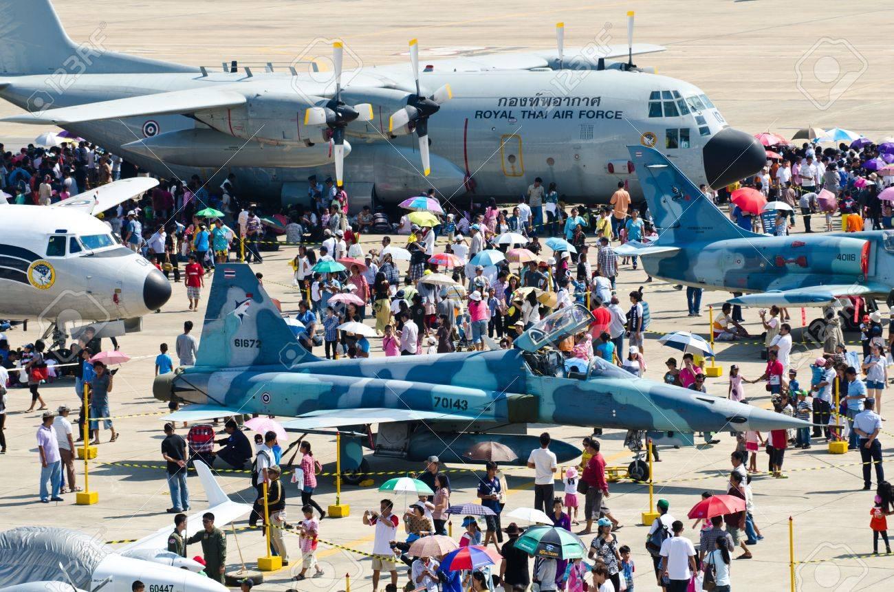 BANGKOK - JANUARY 14 : Scenes of aircraft on display at Don Muang Airshow, January 14, 2012, Don Muang Airport, Bangkok, Thailand.   Stock Photo - 11952042