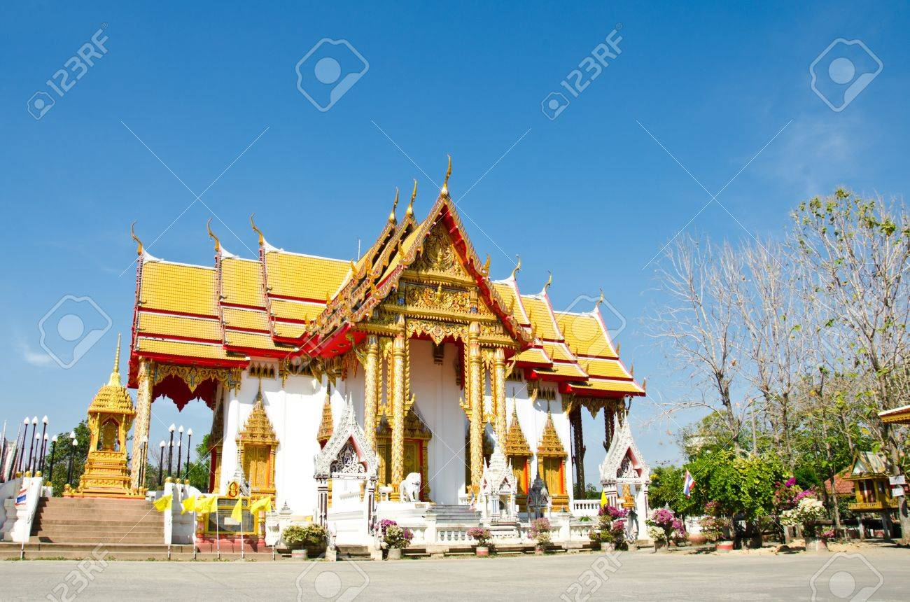 Buddhist Church Is Places Of Worship, Lopburi, Thailand. Stock ...