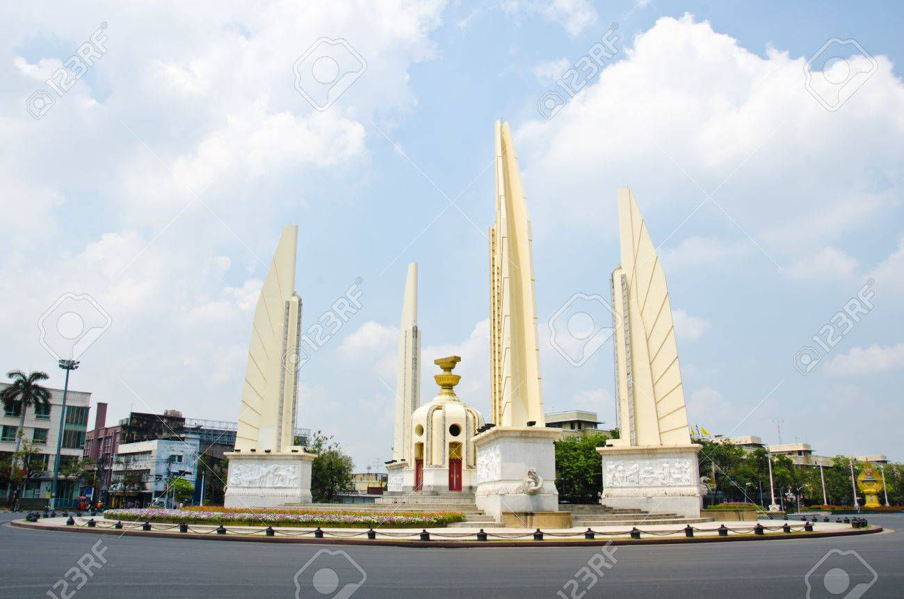 The Democracy Monument Anusawari Prachathipatai is a public monument in the centre of Bangkok, Thailand - 13140166
