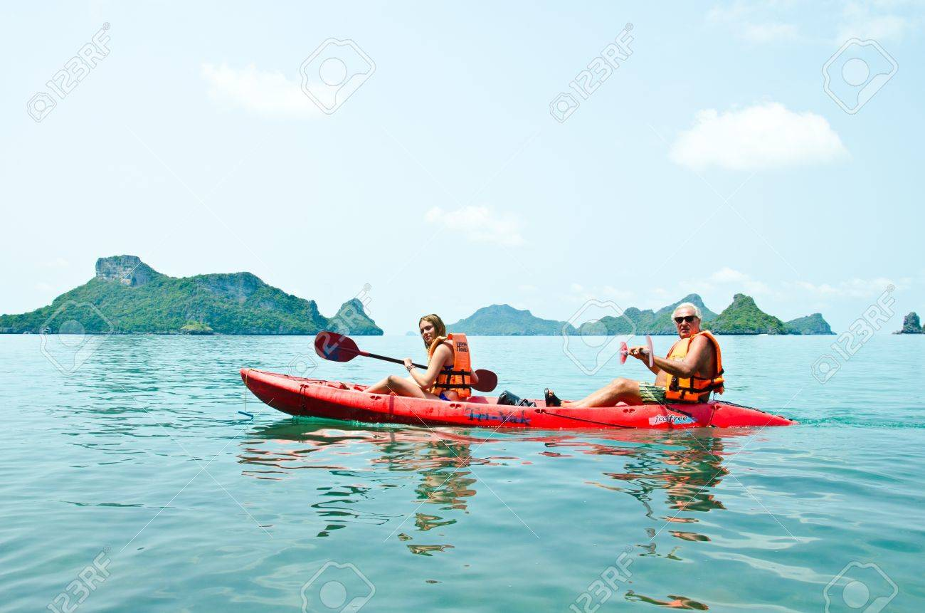 Traveler kayaking in the Gulf of Thailand. Angthong National Marine Park, Suratthani province, Thailand. - 13365150