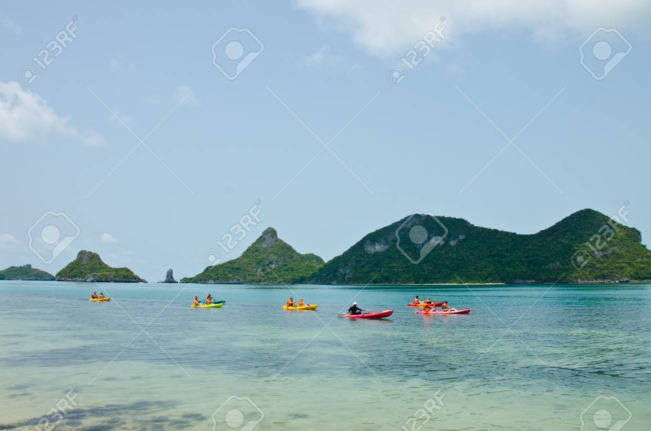 Traveler kayaking in the Gulf of Thailand. Angthong National Marine Park, Suratthani province, Thailand. Stock Photo - 13365152