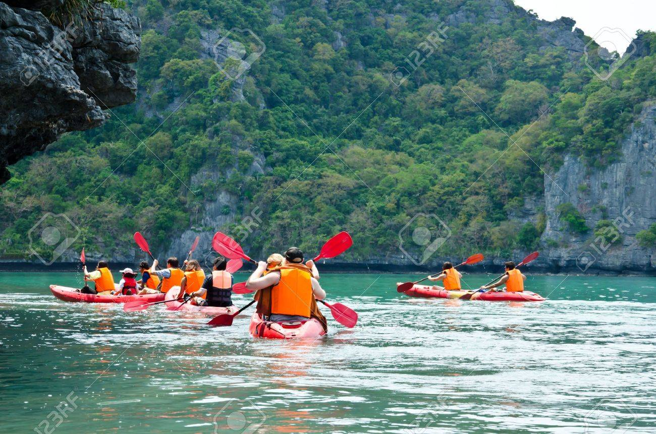 Traveler kayaking in the Gulf of Thailand Angthong National Marine Park, Suratthani province, Thailand - 13413594