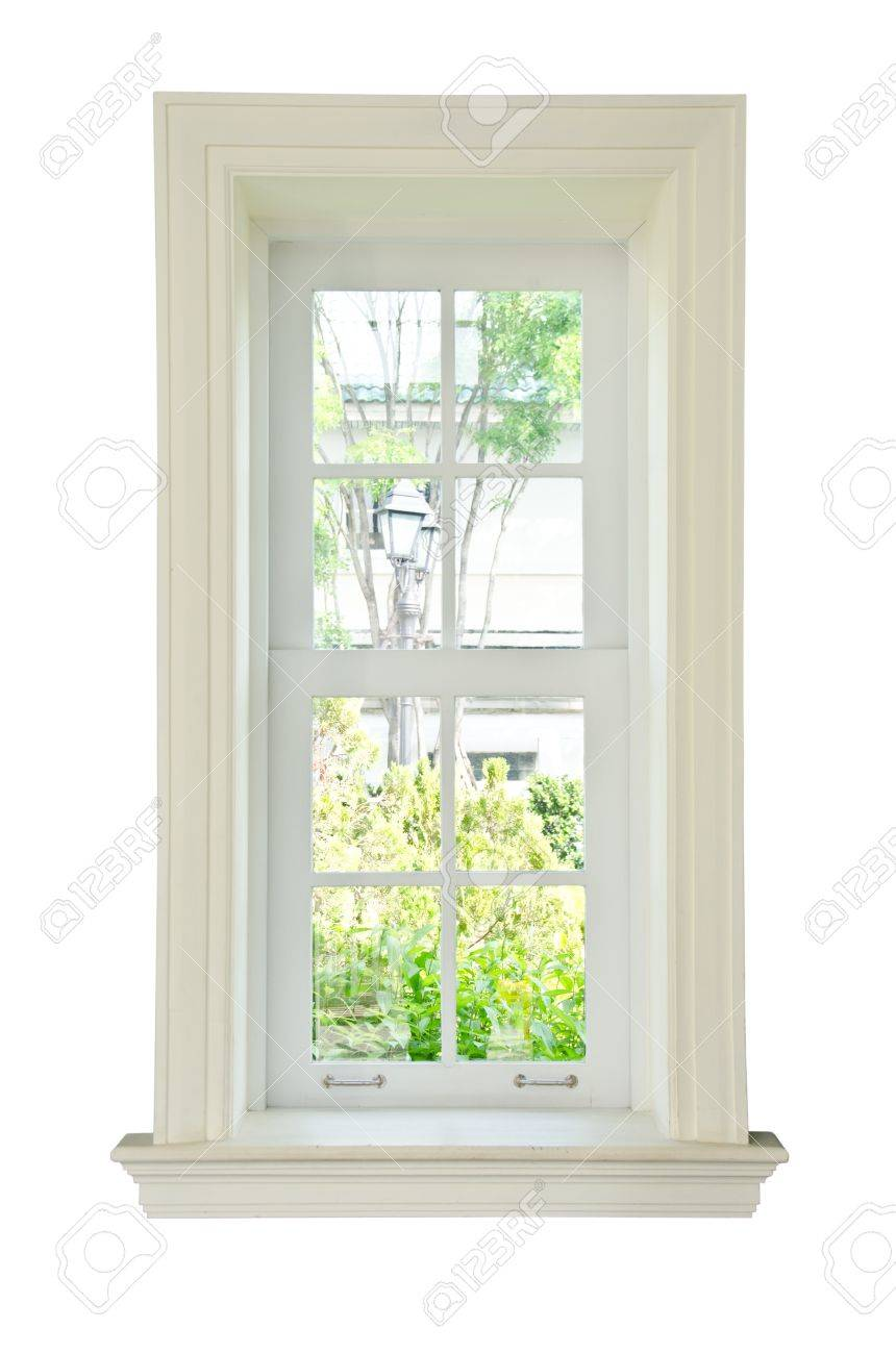 Wood glass window frame isolated on the white background - 14036036