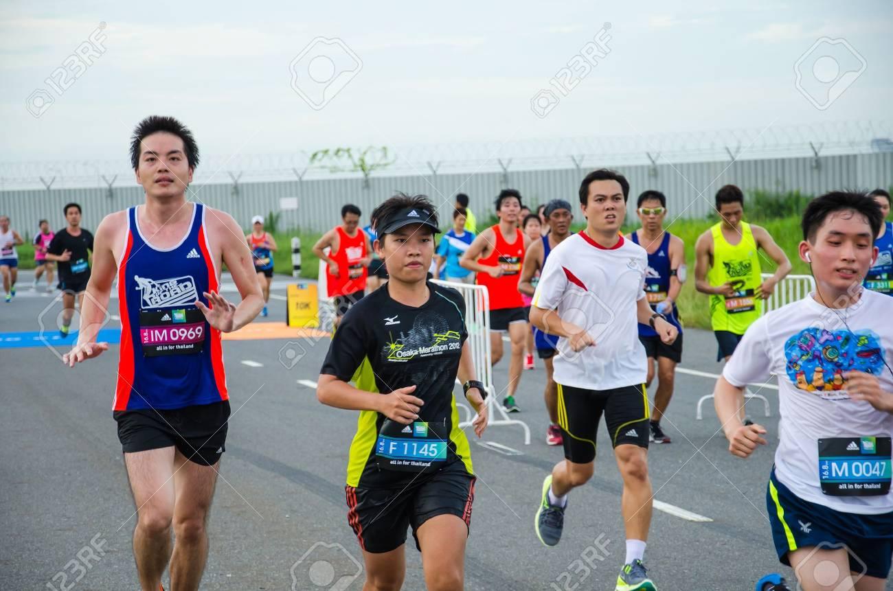 SUVARNABHUMI AIRPORT - SEPTEMBER 8: Unidentified marathon runner at Adidas King of the Road 2013 on September 8, 2013 in Suvarnabhumi Airport Samut Prakan, Thailand. - 22130912